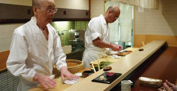 Jiro Ono with one of his sons in another cooking movie